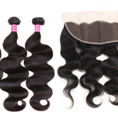 Peruvian Body Wave 100% Human Hair Bundles With Lace Frontal Closure (2)