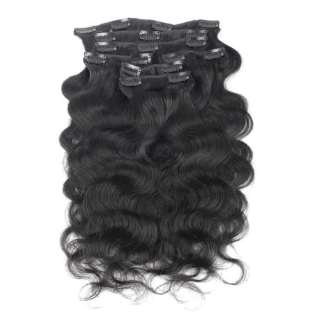 Peruvian Clip In Hair Extensions Body Wave 7 Pieces 120g set Natural Color (6)