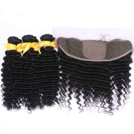 Peruvian Deep Wave Bundle Deals With 13x4 Silk Base Lace Frontal Human Hair (1)