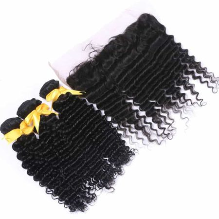 Peruvian Deep Wave Bundle Deals With 13x4 Silk Base Lace Frontal Human Hair (5)