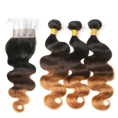 Peruvian Human Body Wave Ombre Bundles With Closure T1B 4 30 Color (5)