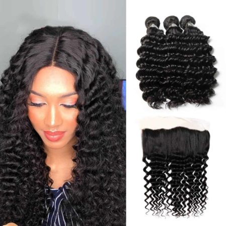 Peruvian Human Deep Wave Bundles with Remy Hair Ear to Ear Lace Frontal (4)