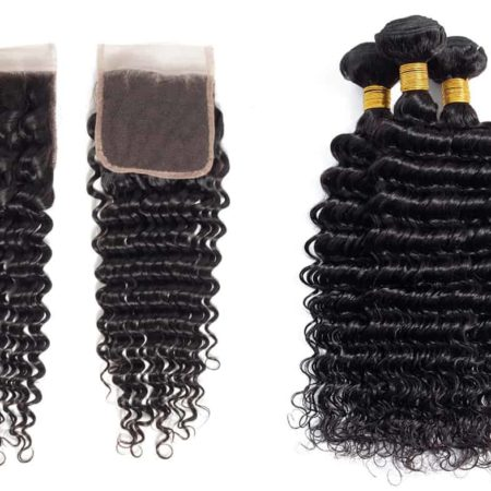 Peruvian Human Hair Bundles Deep Wave Hair Bundles With 4x4 Lace Closure (1)