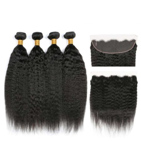 Peruvian Human Kinky Straight 4 Bundles Hair Weave With lace Frontal Closure (1)