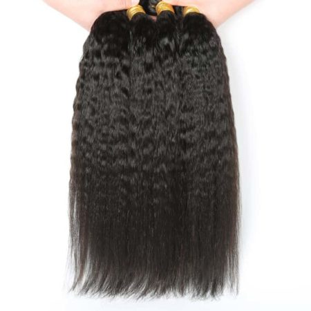 Peruvian Human Kinky Straight 4 Bundles Hair Weave With lace Frontal Closure (6)