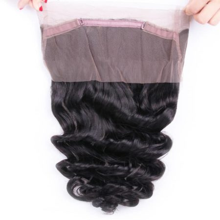 Peruvian Human Loose Wave Hair Weave 360 Lace Frontal Closure (1)