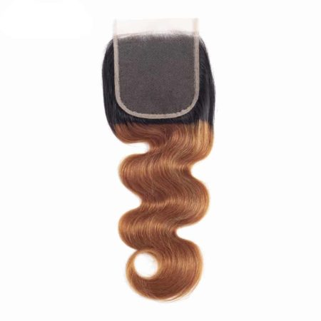 Peruvian Ombre Body Wave 100% Human Hair With 4x4 Lace Closure #1b 30 (1)