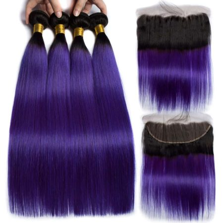 Peruvian Ombre Human Remy Hair Bundles with Lace Frontal Closure 1B Purple 2 Tone (1)