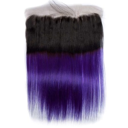 Peruvian Ombre Human Remy Hair Bundles with Lace Frontal Closure 1B Purple 2 Tone (5)