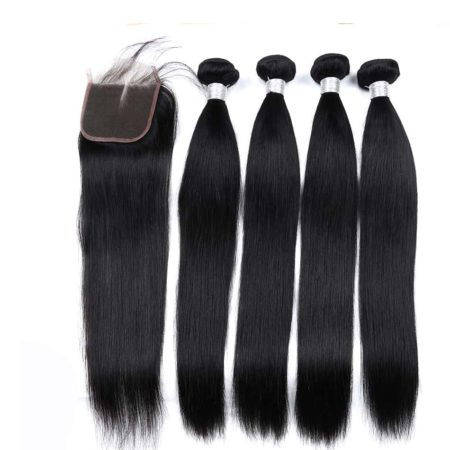 Peruvian Straight 100% Human Hair 4 Bundles With Closure With Baby Hair (1)