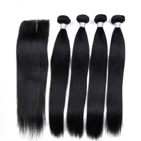 Peruvian Straight 100% Human Hair 4 Bundles With Closure With Baby Hair (5)
