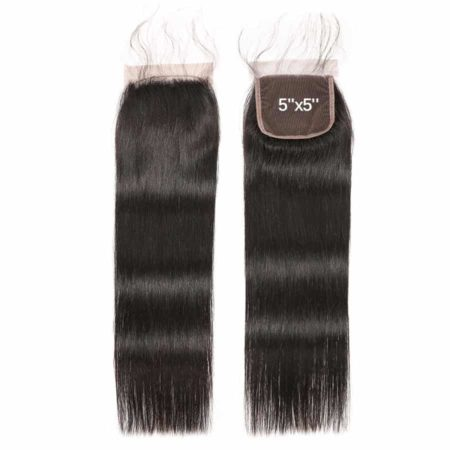 Peruvian Straight 5x5 Lace Closure Human Hair Bleached Knots With Baby Hair (1)