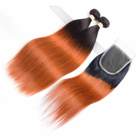 Peruvian Straight Hair Bundles Ombre T1B 350 Human Weave With Lace Closure (5)