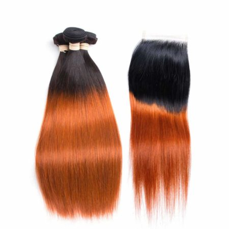 Peruvian Straight Hair Bundles Ombre T1B 350 Human Weave With Lace Closure (6)