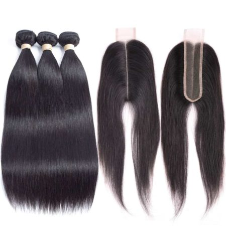 Peruvian Straight Human Hair Bundles With 2x6 Lace Closure (1)