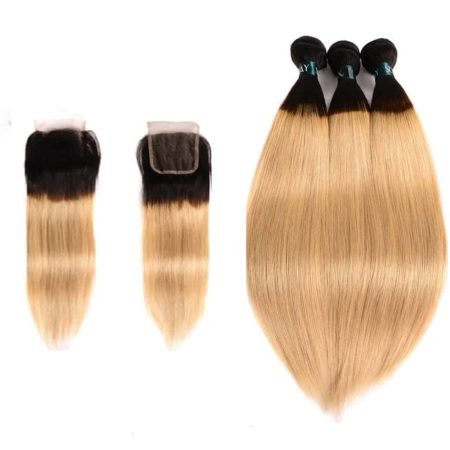 Peruvian Straight T1B 27 Ombre Blonde Human Hair 3 Bundles With Lace Closure With Dark Roots (4)