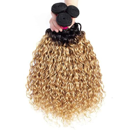 Peruvian Water Wave 3 or 4 Bundles Weave Blonde Human Ombre Hair Extensions (3)
