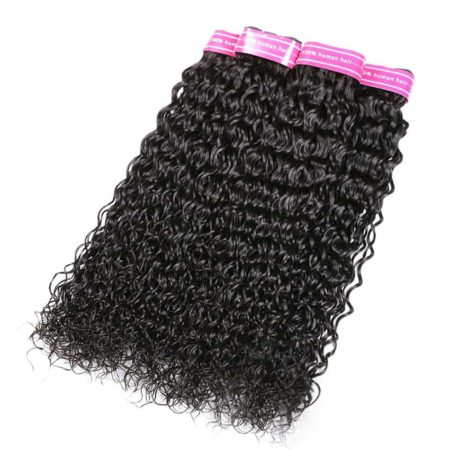 Peruvian Water Wave Remy Human Hair Bundles With Frontal Middle&Free Part (4)
