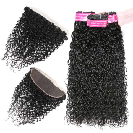 Peruvian Water Wave Remy Human Hair Bundles With Frontal Middle&Free Part (5)