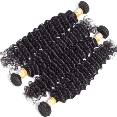 Peruvian Wavy Hair Bundles Deep Wave Human Hair With Closure (4)