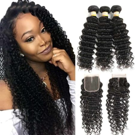 Peruvian Wavy Hair Bundles Deep Wave Human Hair With Closure (5)