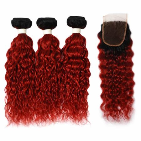 Peruvian Wavy Hair Bundles With Closure Human Water Wave 1B Red (4)