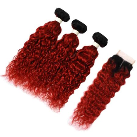 Peruvian Wavy Hair Bundles With Closure Human Water Wave 1B Red (5)