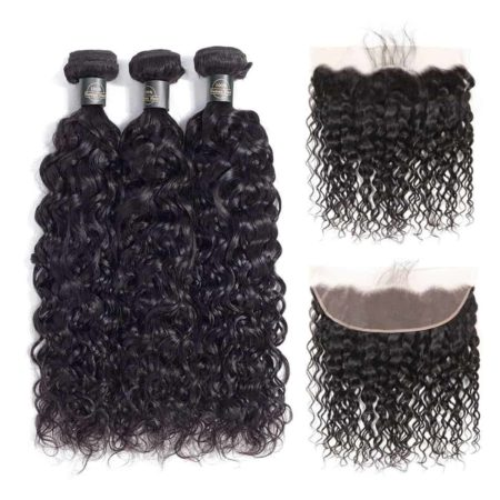 Peruvian Wet And Wavy Hair 3 Bundles With Lace Frontal Human Hair (1)