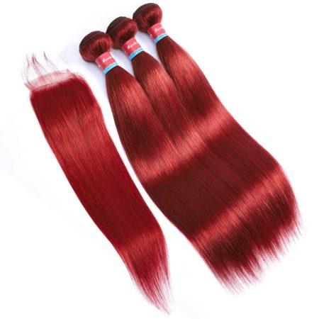 Pre-Colored Indian Straight Human Hair Bundles With Lace Closure #33 Red Color (1)