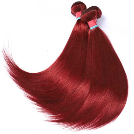 Pre-Colored Indian Straight Human Hair Bundles With Lace Closure #33 Red Color (6)