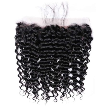 Pre Plucked 13x4 Peruvian Deep Wave Lace Frontal Closure Human Hair (2)