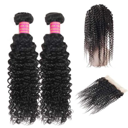Pre Plucked 360 Frontal With Bundles Human Mongolian Kinky Curly Hair (2)