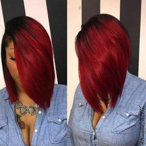 Red and black sew in bob
