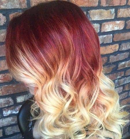 Red blonde ombre hairstyle