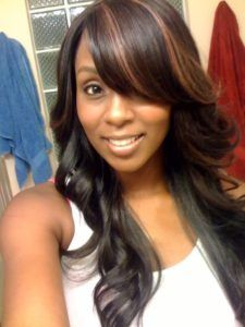 Side part sew in style with bangs