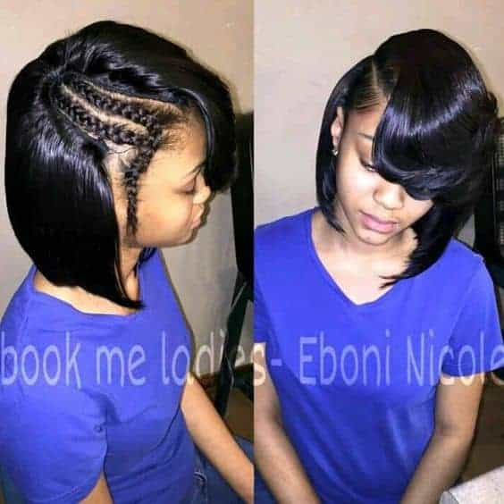 Side part sew in with leave outs