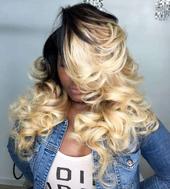 Side swept ombre style