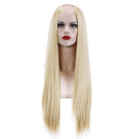 Straight Blonde U Part Half Wig For Black Women Synthetic Hair (4)