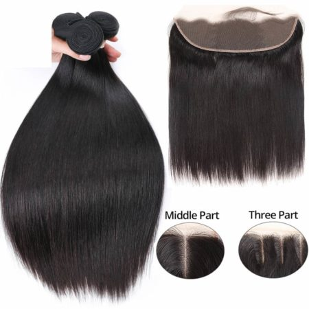 Straight Brazilian Hair Frontal With Bundles Human Hair Weave (2)