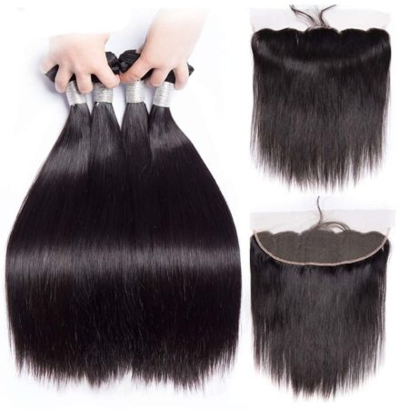 Straight Peruvian Hair Bundles Human Remy Hair With Lace Frontal (1)