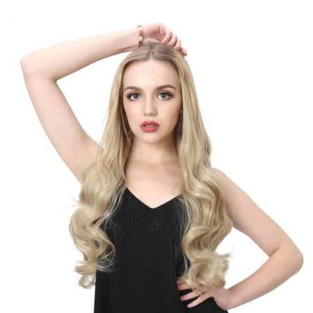 Synthetic U Part Half Wig For Women Clip in Ombre Curly Hair (1)
