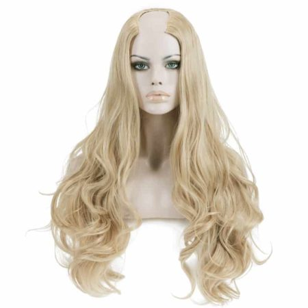 Synthetic U Part Half Wig For Women Clip in Ombre Curly Hair (3)