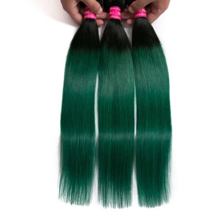 T1b green Brazilian Straight Human Hair Weave Bundles (4)