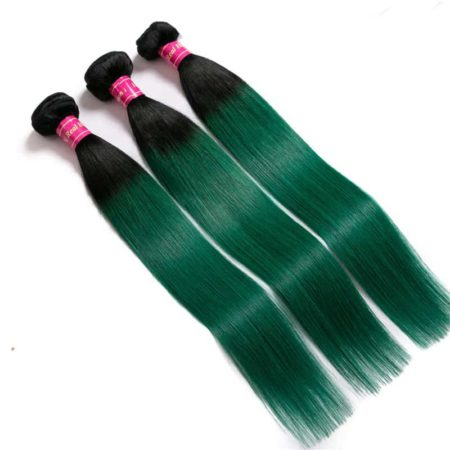 T1b green Brazilian Straight Human Hair Weave Bundles (5)