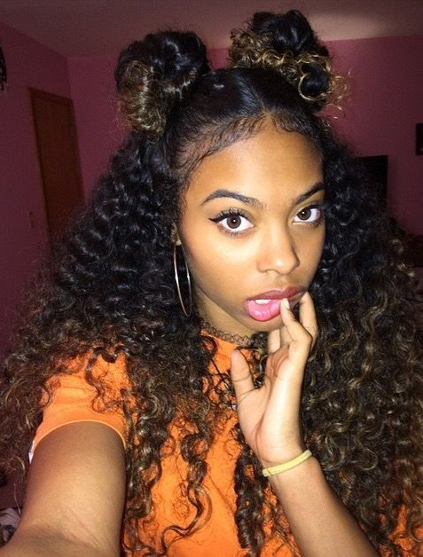 Two buns deep wave style