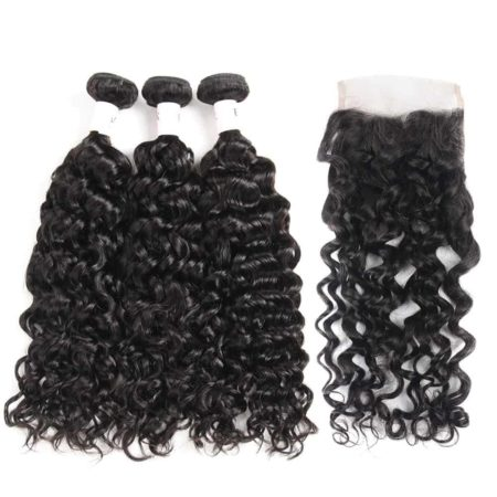 Water Wave Wet and Wavy Indian 100% Remy Human Hair Bundles with Lace Closure (1)