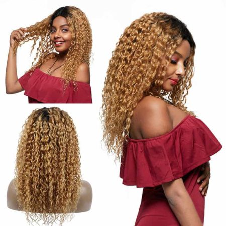 Wet And Wavy Brazilian Hair Ombre Lace Front Human Hair Wigs T1B 27 (1)