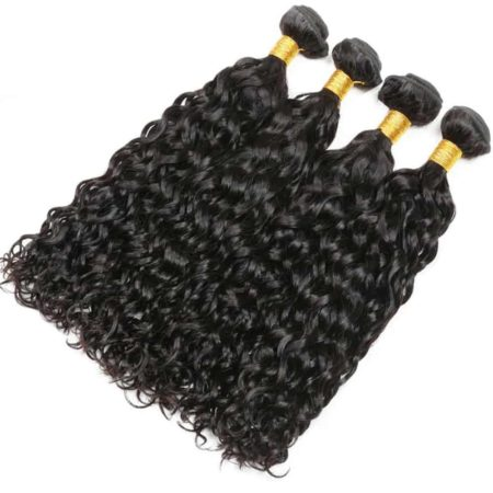 Wet And Wavy Brazilian Remy Hair 4 Bundles With Closure Hair Weave (4)