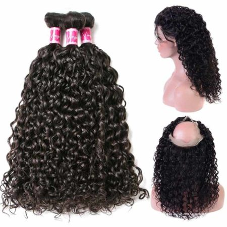 360 Frontal And Bundle Deal Peruvian Water Wave Human Remy Hair (1)