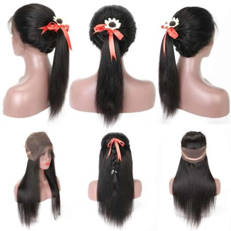 360 Frontal Wig With Bundles Malaysian Straight Human Hair (1)